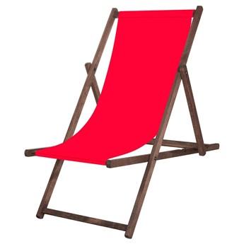 Leżak drewniany impregnowany z materiałem czerwonym