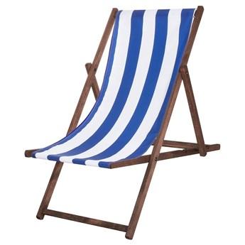 Leżak drewniany impregnowany z materiałem w niebieskie paski