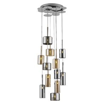 Srebrno-miodowa lampa wisząca ozcan 4721-12a zwis na kole 12x20w