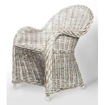 Fotel rattanowy VERSAILLES biały przecierany