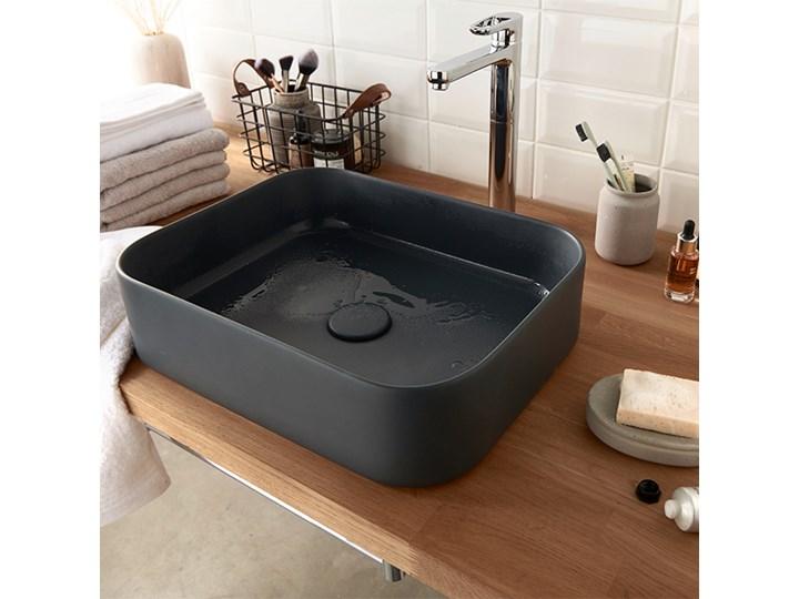 Umywalka nablatowa GoodHome Tekapo 45 x 35 x 12 cm szara Szerokość 45 cm Kategoria Umywalki Narożne Prostokątne Podwieszane Nablatowe Kolor Czarny
