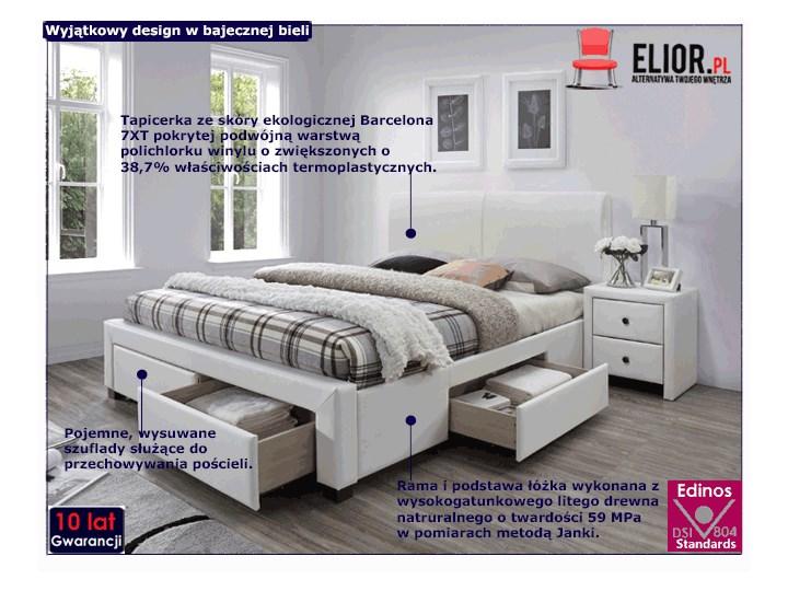 Łóżko białe Moris 2X 160x200 Łóżko tapicerowane Rozmiar materaca 160x200 cm