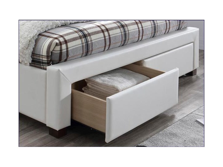 Łóżko białe Moris 2X 160x200 Łóżko tapicerowane Kategoria Łóżka do sypialni Rozmiar materaca 160x200 cm