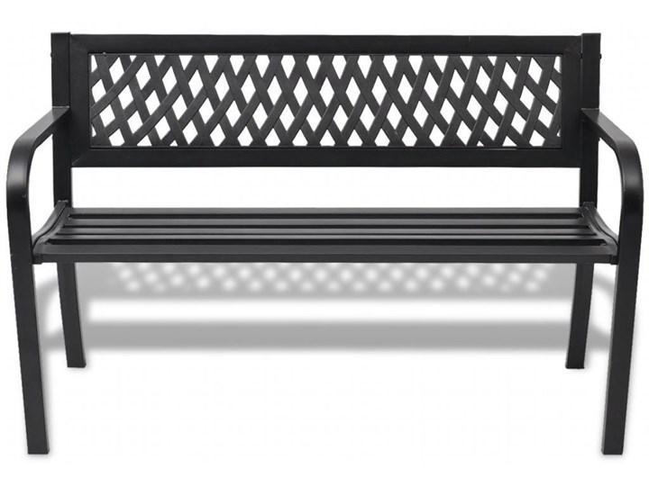 Metalowa ławka ogrodowa Cald - czarna Długość 118 cm Stal Z oparciem Kolor Czarny