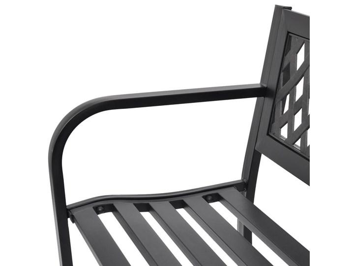 Metalowa ławka ogrodowa Cald - czarna Stal Długość 118 cm Z oparciem Kolor Czarny