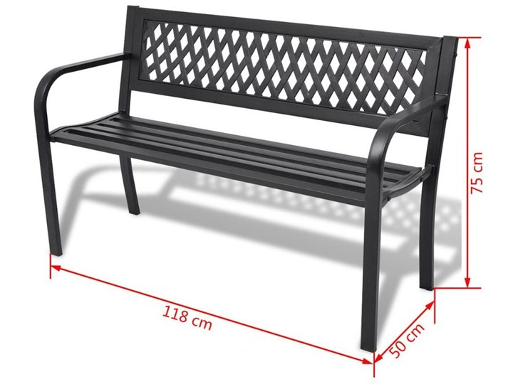 Metalowa ławka ogrodowa Cald - czarna Z oparciem Długość 118 cm Stal Kolor Czarny