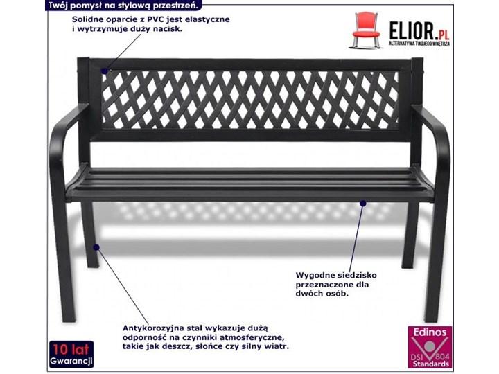 Metalowa ławka ogrodowa Cald - czarna Stal Z oparciem Długość 118 cm Kolor Czarny
