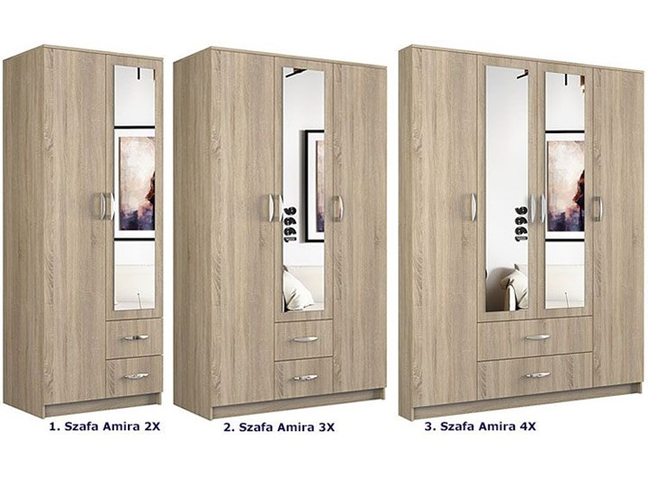 Szafa z lustrem Amira 3X - dąb sonoma Lustro Drewno Kategoria Szafy do garderoby