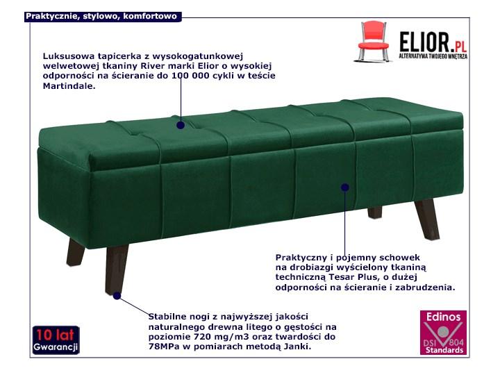 Pikowana ławka z pojemnikiem Adras - zielona Styl Skandynawski Kolor Zielony