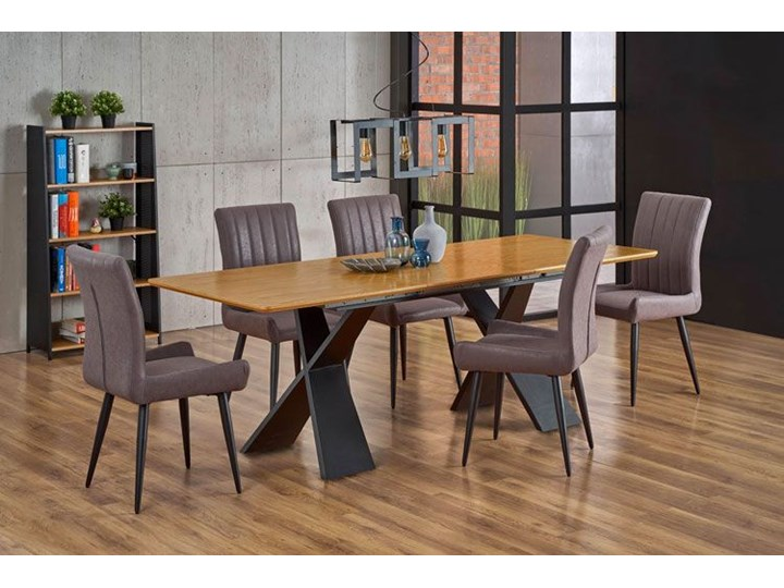 Loftowy stół rozkładany Eden - dąb naturalny Długość 220 cm Wysokość 75 cm Szerokość 90 cm Drewno Długość 90 cm  Rozkładanie Rozkładane