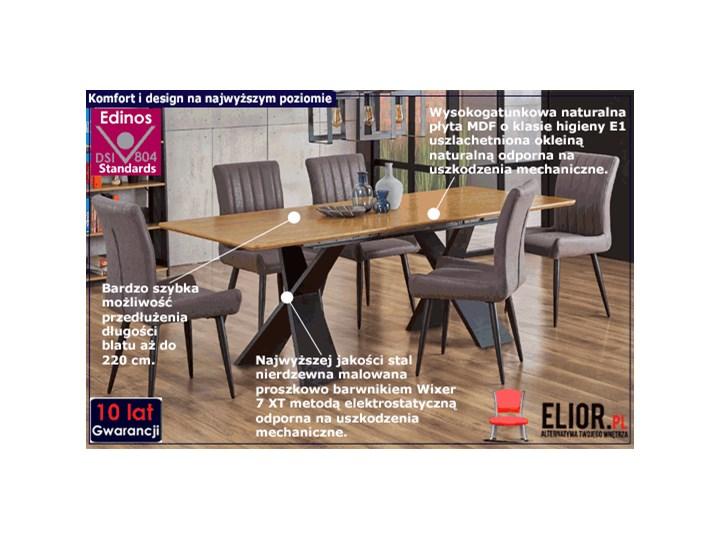 Loftowy stół rozkładany Eden - dąb naturalny Drewno Szerokość 90 cm Długość 220 cm Długość 90 cm  Wysokość 75 cm Styl Minimalistyczny Kolor Czarny