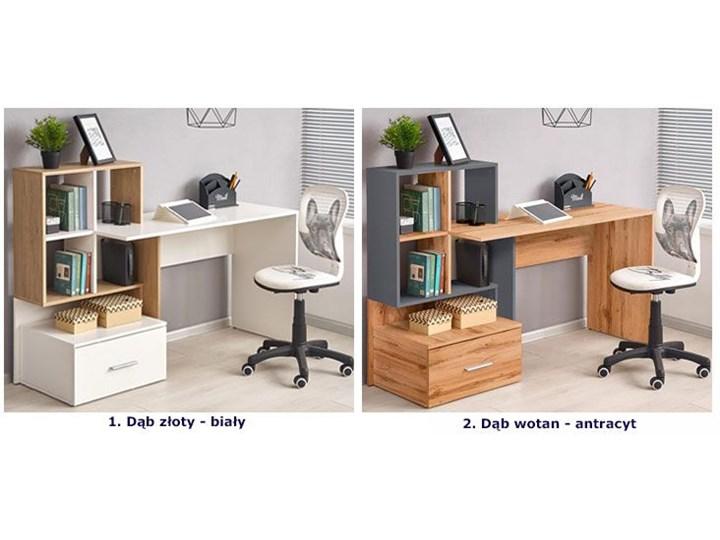 Nowoczesne biurko Olwen - dąb wotan + antracyt Szerokość 149 cm Głębokość 50 cm Biurko z nadstawką Styl Nowoczesny