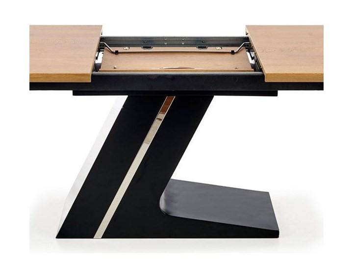 Nowoczesny rozkładany stół Azira - dąb Kolor Brązowy Wysokość 75 cm Drewno Szerokość 90 cm Długość 90 cm  Długość 220 cm Rozkładanie