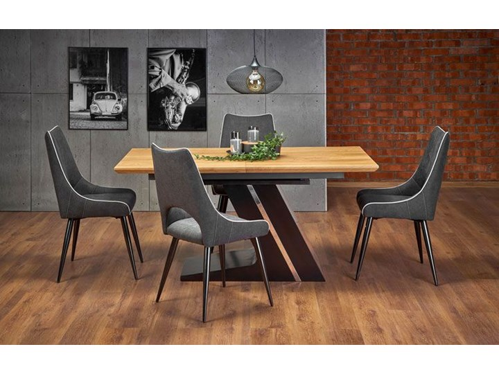 Nowoczesny rozkładany stół Azira - dąb Długość 90 cm  Rozkładanie Długość 220 cm Wysokość 75 cm Szerokość 90 cm Drewno Kolor Brązowy