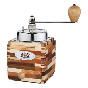 młynek do kawy z korbką, 18x10x10 cm, poj.50 g, drewno mieszane i stal kod: ZS-040258