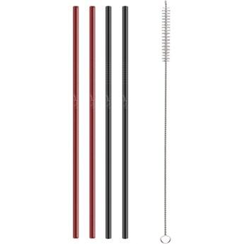 Słomki metalowe czerwono/czarne 4szt. Straw Lamart LT7054 kod: LT7054