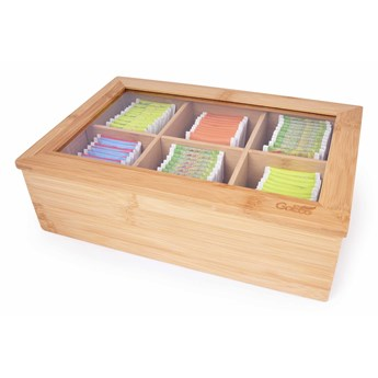 Bambusowa szkatułka DUŻA HERBACIARKA na torebki herbaty GoEco®