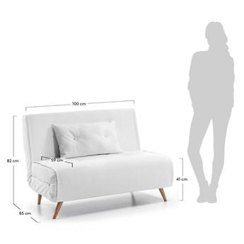 Biała sofa rozkładana z imitacji skóry La Forma Tupana