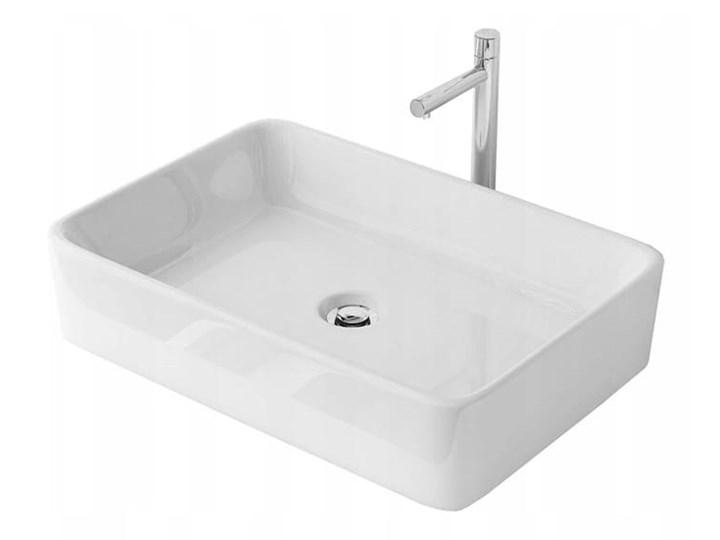 UMYWALKA NABLATOWA CUBIC VELDMAN Meblowe Kategoria Umywalki Nablatowe Ceramika Prostokątne Kolor Biały