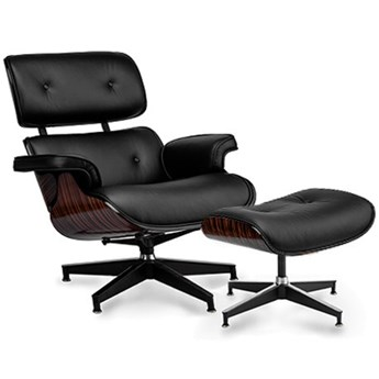 Fotel z podnóżkiem Tokyo czarna skóra/ebony