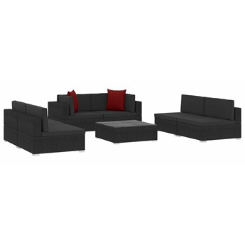 vidaXL 7-cz. zestaw wypoczynkowy do ogrodu, poduszki, czarny rattan PE