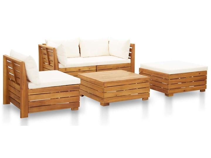 vidaXL 5-cz. zestaw mebli ogrodowych z poduszkami, akacjowy, kremowy Drewno Zestawy wypoczynkowe Kolor Brązowy
