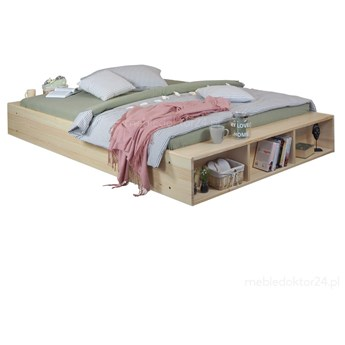 Łóżko Fresh drewniane z półkami