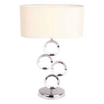 LAMPA STOŁOWA METALOWA SREBRNA Z ABAŻUREM OFF WHITE OLYMPIC H64CM