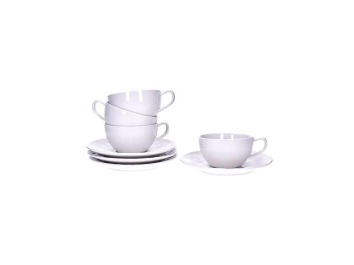 Zestaw filiżanek ze spodkami DUKA SARA 8 elementów 200 ml porcelana Komplety filiżanek Filiżanka do herbaty Kolor Biały