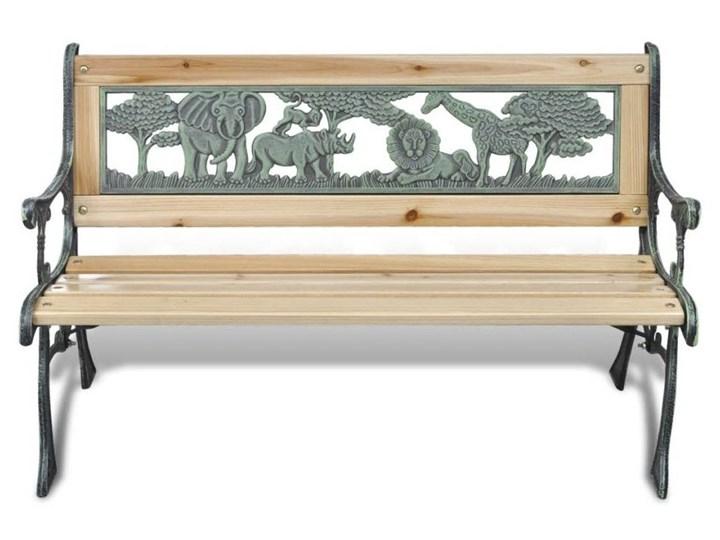 Drewniana ławka ogrodowa dla dzieci Ponter - brązowa Z oparciem Długość 84 cm Drewno Kolor Brązowy