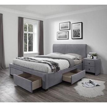 Dwuosobowe łóżko z szufladami Moris 4X - popielate