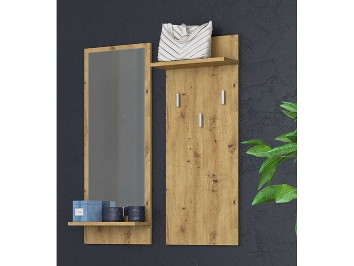 Wieszak z lustrem Donel - dąb artisan Kolor Brązowy Kategoria Zestawy mebli do sypialni