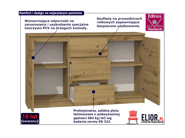 Nowoczesna komoda Rubin - dąb artisan Pomieszczenie Pokój nastolatka Z szafkami i szufladami Drewno Pomieszczenie Sypialnia