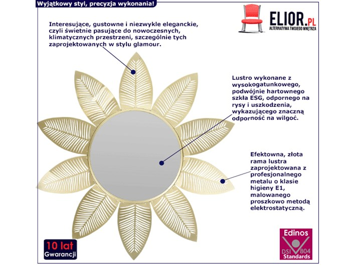 Glamour lustro Evelie - złote Ścienne Okrągłe Lustro z ramą Kategoria Lustra