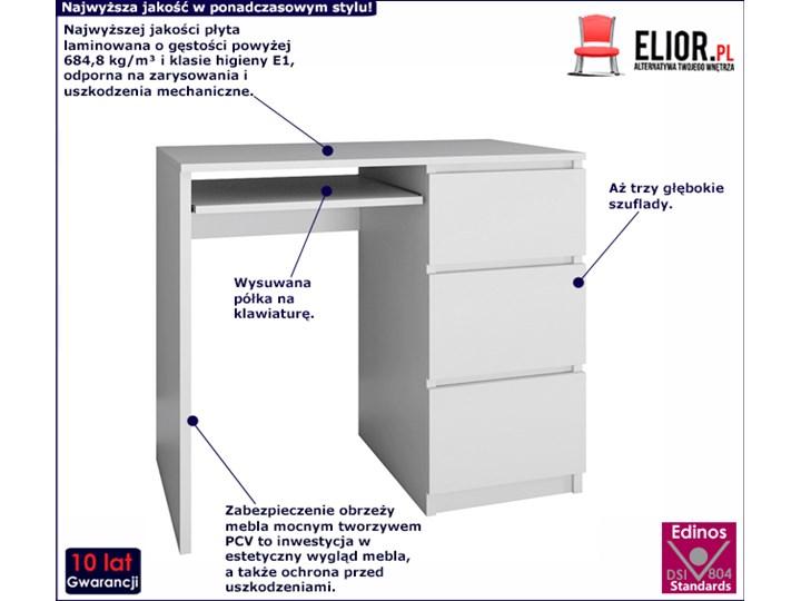 nowoczesne biurko prawostronne blanco 2x - biały mat Szerokość 51 cm Szerokość 98 cm Biurko tradycyjne Styl Skandynawski