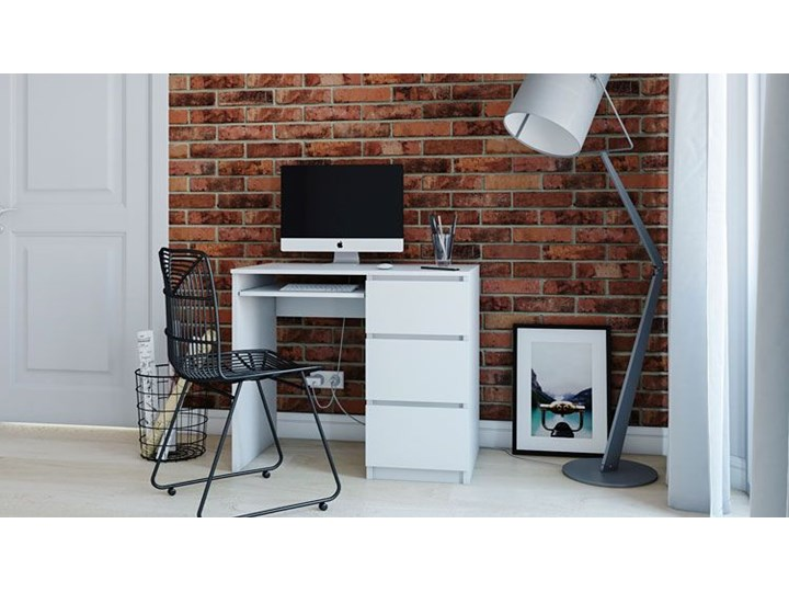 nowoczesne biurko prawostronne blanco 2x - biały mat Szerokość 98 cm Szerokość 51 cm Styl Skandynawski Biurko tradycyjne Styl Nowoczesny