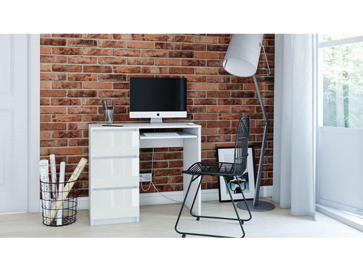Nowoczesne biurko lewostronne Blanco 3X - biały połysk Styl Nowoczesny Szerokość 98 cm Biurko tradycyjne Szerokość 51 cm Styl Skandynawski