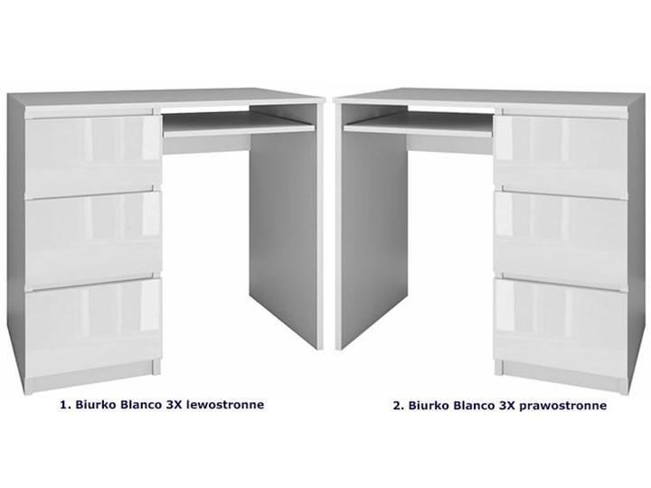 Nowoczesne biurko lewostronne Blanco 3X - biały połysk Szerokość 51 cm Biurko tradycyjne Szerokość 98 cm Styl Skandynawski