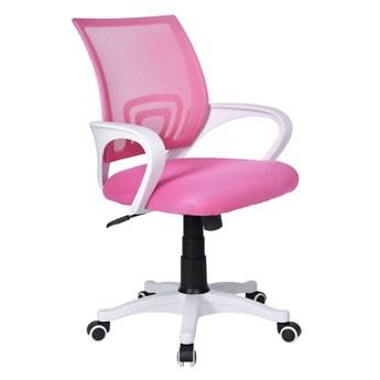 Fotel biurowy Bianco biało-różowy
