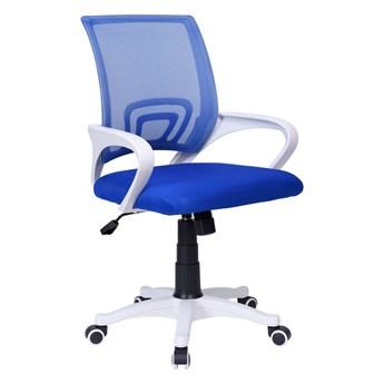 Fotel biurowy Bianco biało - niebieski