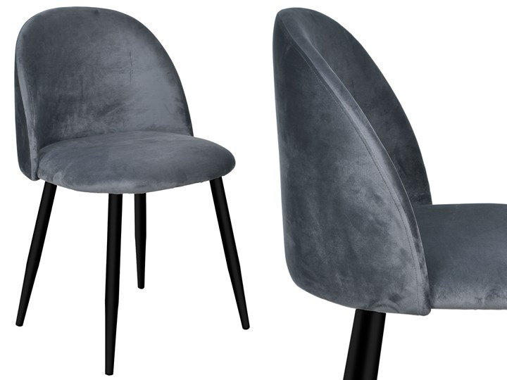 Krzesło aksamitne K-SOUL VELVET grafitowe