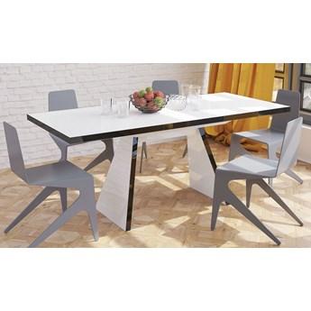 Rozkładany stół w wysokim połysku Alan biały/czarny