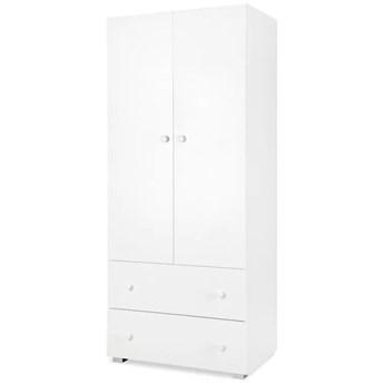 Biała szafa dziecięca dwudrzwiowa z szufladami Paula