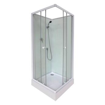 Kabina prysznicowa kwadratowa Arkell 80 cm z tylnymi ściankami i niskim brodzikiem