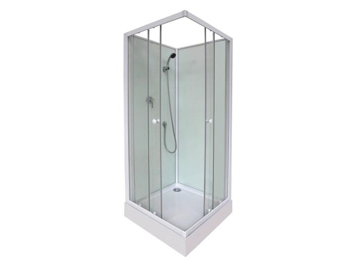 Kabina prysznicowa kwadratowa Arkell 80 cm z tylnymi ściankami i niskim brodzikiem Przyścienna Kolor Srebrny
