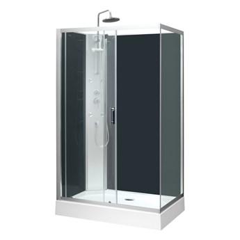 Kabina prysznicowa z hydromasażem Onega 80 x 120 cm asymetryczna niski brodzik