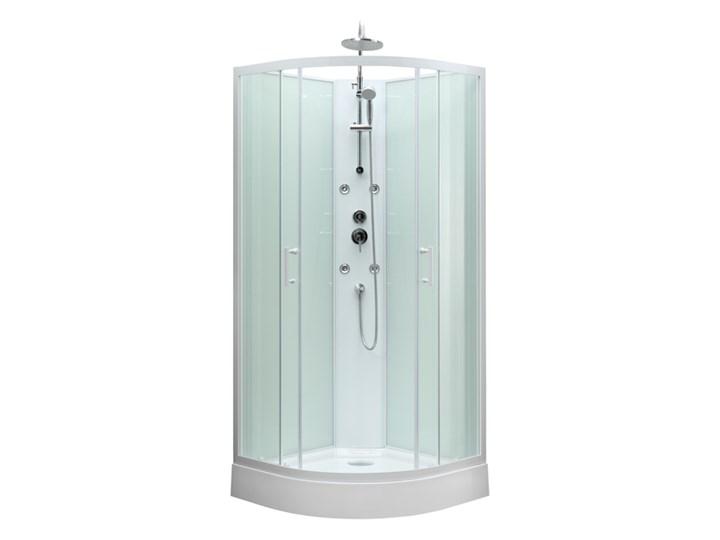 Kabina prysznicowa z hydromasażem Onega 85 cm półokrągła niski brodzik biała Narożna Wysokość 225 cm Kolor Biały