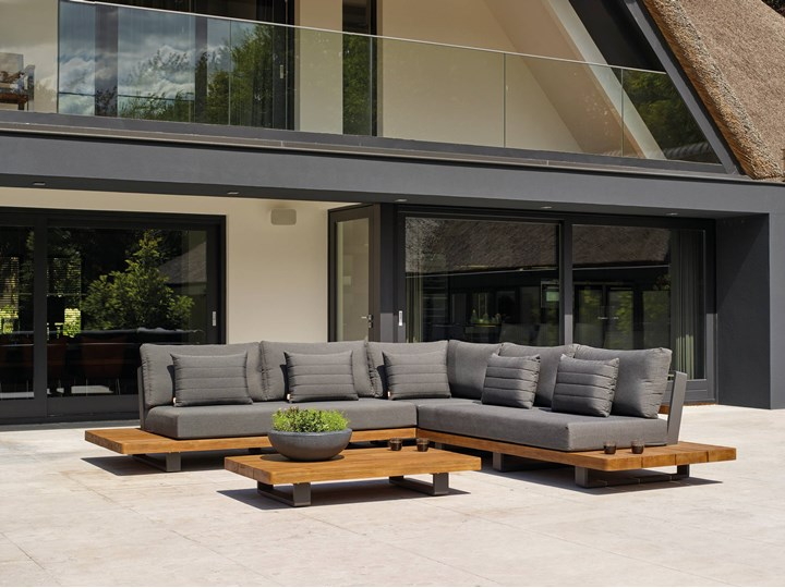 Meble ogrodowe aluminiowe - narożnik nowoczesny na taras FITZ   Dekkor Aluminium Zestawy wypoczynkowe Kategoria Zestawy mebli ogrodowych