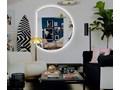 Lustro Moon + Ambilight Owalne Lustro bez ramy Okrągłe Kolor Srebrny Ścienne Pomieszczenie Sypialnia