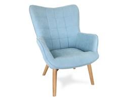 Fotel uszak skandynawski na drewnianych bukowych nogach wypoczynkowy do salonu jasny niebieski F930TLBL